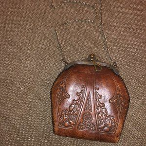 1920's Vintage Art Deco Tooled leather mini bag